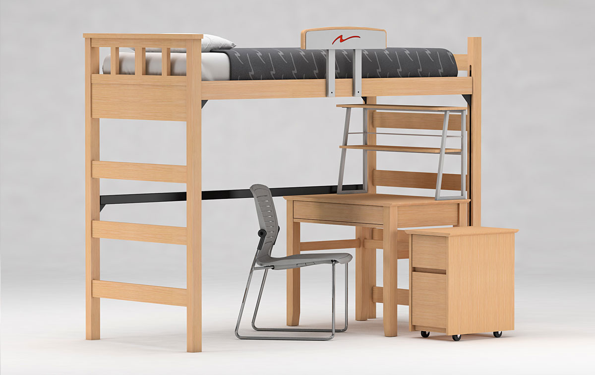 FreshSpace Lofted Bed and Desk
